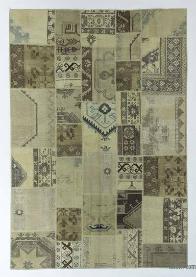 "Over-dyed Turkish Patchwork Rug - 6'9"" x 9'8"" (81 in. x 116 in.)"