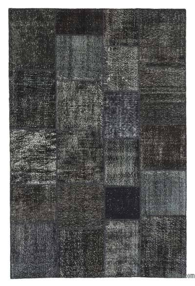 Black Over-dyed Turkish Patchwork Rug - 6'7'' x 9'11'' (79 in. x 119 in.)