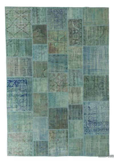 Turquoise Over-dyed Turkish Patchwork Rug - 6'8'' x 9'7'' (80 in. x 115 in.)