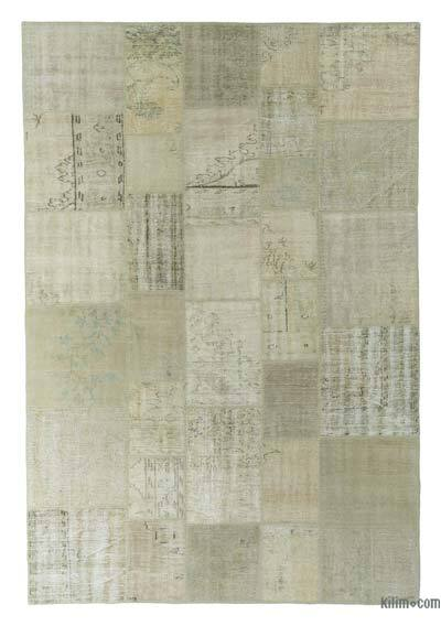 Beige Over-dyed Turkish Patchwork Rug - 6'9'' x 10' (81 in. x 120 in.)