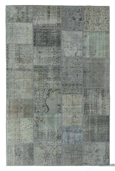 Grey, Light Blue Over-dyed Turkish Patchwork Rug - 6'5'' x 9'10'' (77 in. x 118 in.)