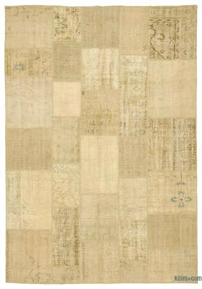 Beige Over-dyed Turkish Patchwork Rug - 6'8'' x 9'9'' (80 in. x 117 in.)