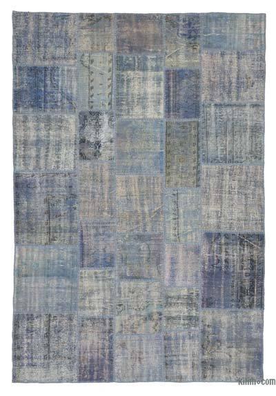 Blue Light Over Dyed Turkish Patchwork Rug K0018689