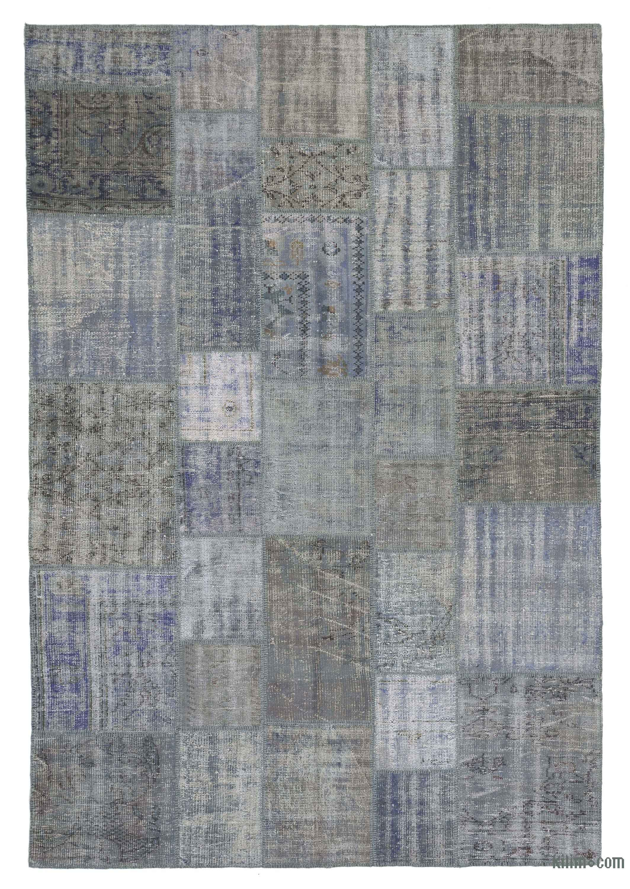 Light Blue Grey Over Dyed Turkish Patchwork Rug