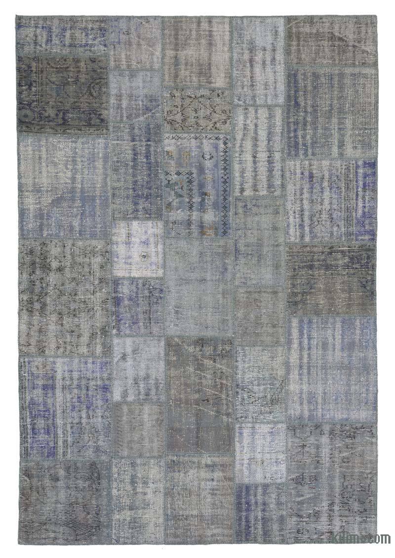 K0018692 Light Blue Grey Over Dyed Turkish Patchwork Rug