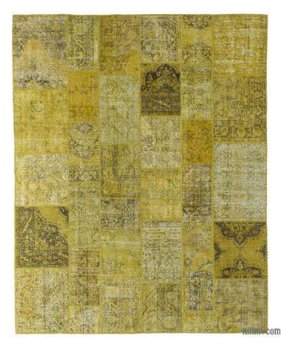 Yellow Over-dyed Turkish Patchwork Rug - 8'1'' x 10'1'' (97 in. x 121 in.)