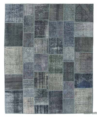 Grey Over-dyed Turkish Patchwork Rug - 8' x 9'10'' (96 in. x 118 in.)