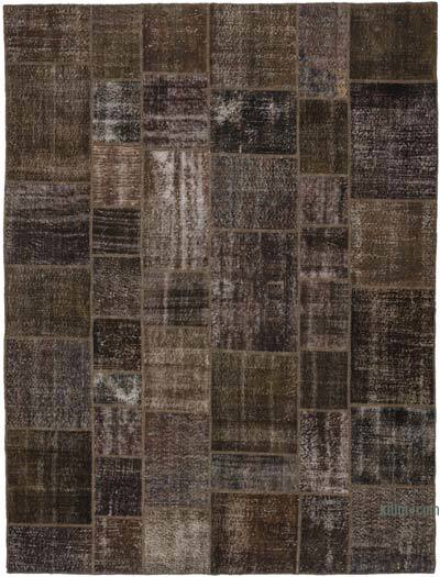Grey Over-dyed Turkish Patchwork Rug - 8'6'' x 11'4'' (102 in. x 136 in.)