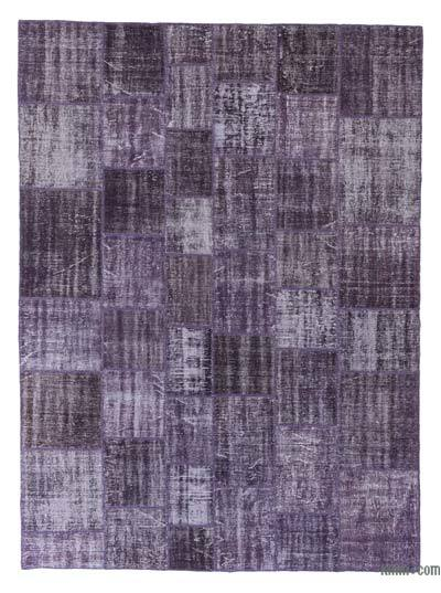 Purple Over-dyed Turkish Patchwork Rug - 8'5'' x 11'6'' (101 in. x 138 in.)