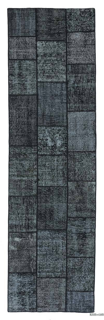 Black Over-dyed Turkish Patchwork Runner Rug
