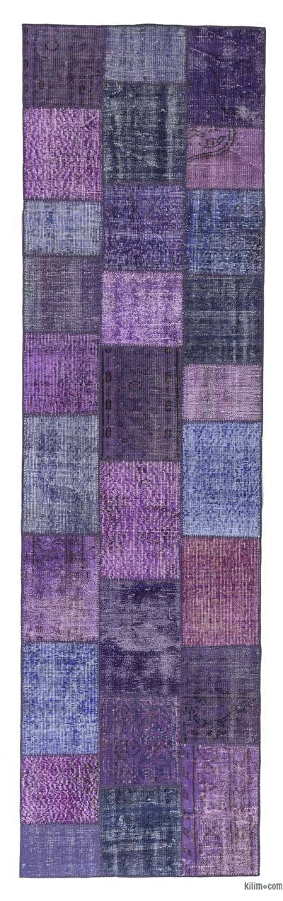 Purple, Multicolor Over Dyed Turkish Patchwork Runner Rug   K0018757