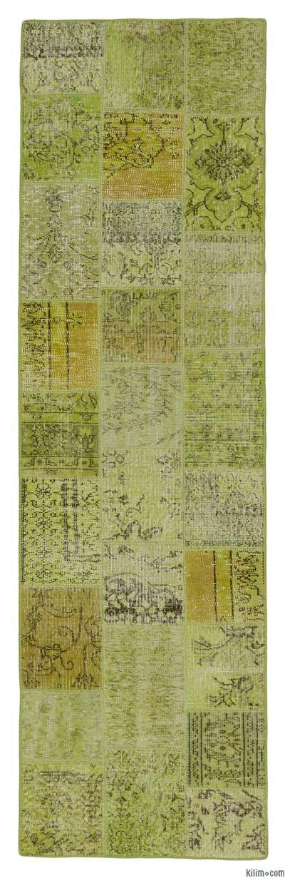 Green, Yellow Over-dyed Turkish Patchwork Runner Rug - 2'10'' x 9'9'' (34 in. x 117 in.)