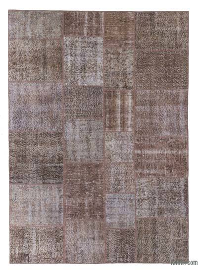 Brown Over-dyed Turkish Patchwork Rug - 5'7'' x 7'10'' (67 in. x 94 in.)