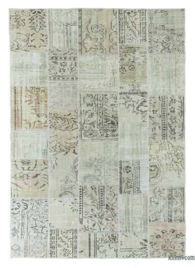 Beige Over-dyed Turkish Patchwork Rug - 5'7'' x 7'11'' (67 in. x 95 in.)