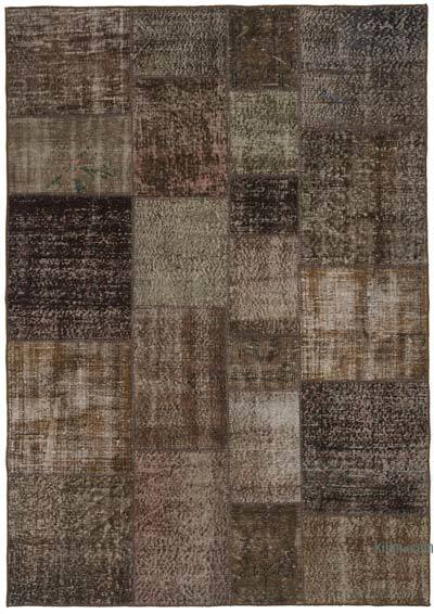 Brown Over-dyed Turkish Patchwork Rug - 5'7'' x 7'11'' (67 in. x 95 in.)