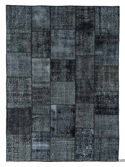 Black Over-dyed Turkish Patchwork Rug - 5'9'' x 7'11'' (69 in. x 95 in.)
