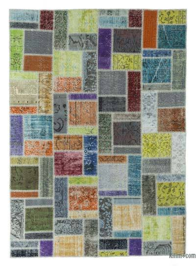 Over-dyed Turkish Patchwork Rug - 5'8'' x 7'11'' (68 in. x 95 in.)