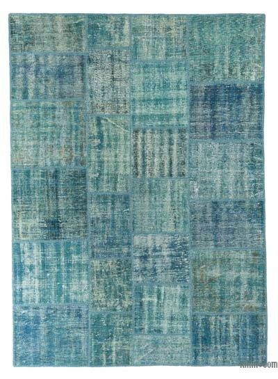 Turquoise Over-dyed Turkish Patchwork Rug - 5'9'' x 7'11'' (69 in. x 95 in.)