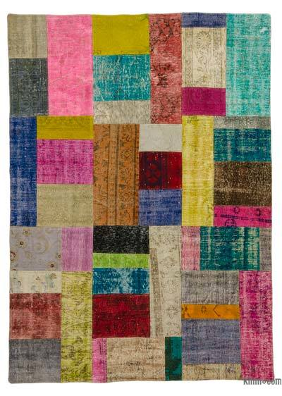 Multicolor Over-dyed Turkish Patchwork Rug - 5'8'' x 7'10'' (68 in. x 94 in.)