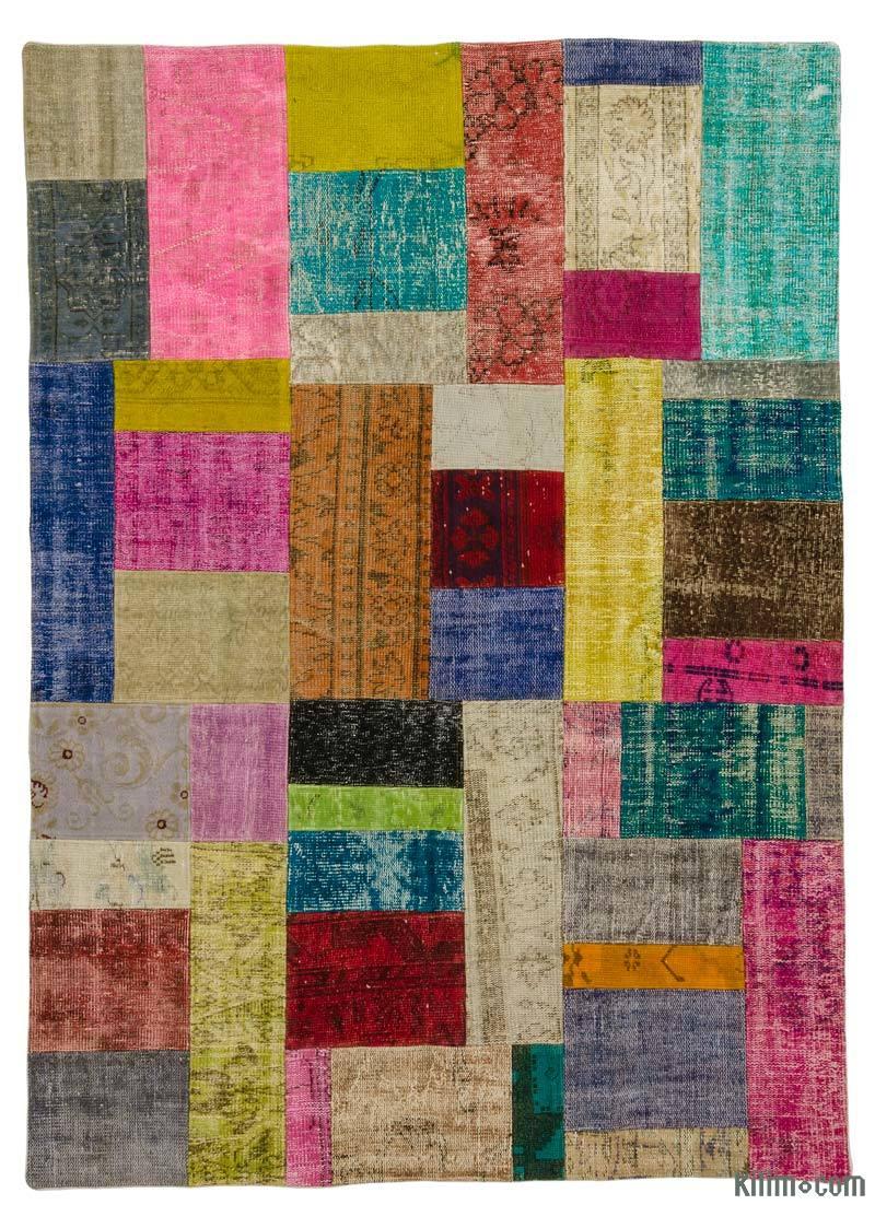 K0018799 Multicolor Over Dyed Turkish Patchwork Rug 5 8