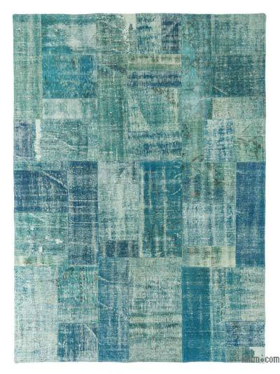 Turquoise Over-dyed Turkish Patchwork Rug - 5'8'' x 7'10'' (68 in. x 94 in.)