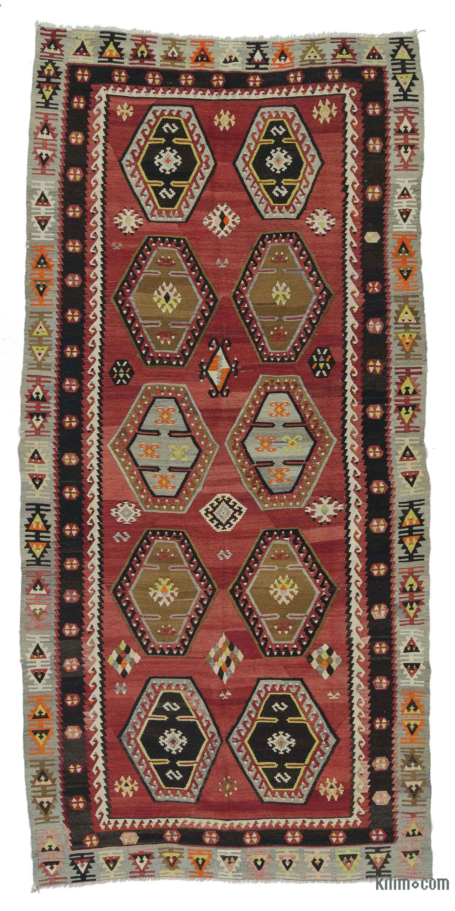 Rugs And Kilims Are The Master Elements Of Bohemian Style: K0018872 Red Vintage Sarkisla Kilim Rug