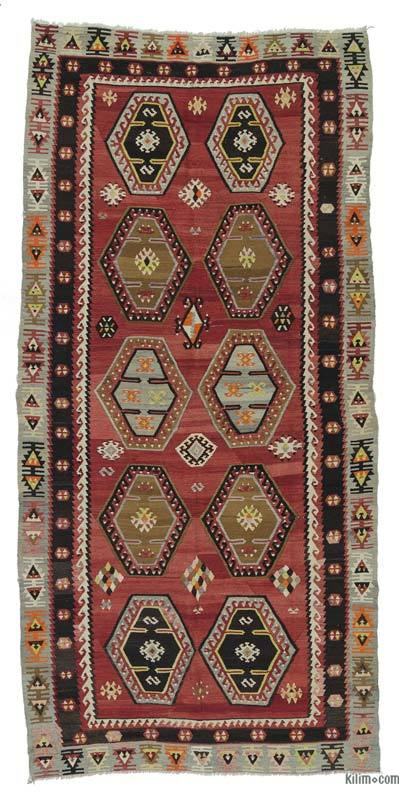 Red Vintage Sarkisla Kilim Rug - 4'9'' x 10' (57 in. x 120 in.)