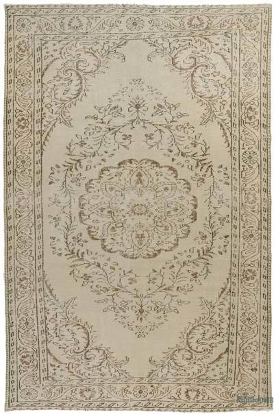 Beige Over-dyed Turkish Vintage Rug - 6'4'' x 9'8'' (76 in. x 116 in.)