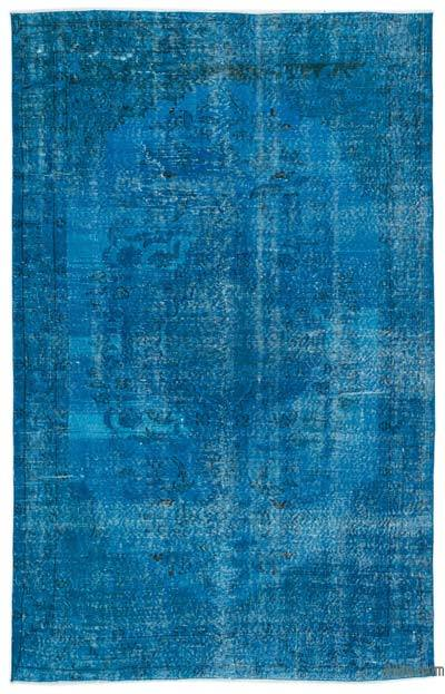 Turquoise Over-dyed Turkish Vintage Rug - 5'6'' x 8'8'' (66 in. x 104 in.)