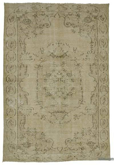Beige Over-dyed Turkish Vintage Rug - 6'4'' x 9'5'' (76 in. x 113 in.)