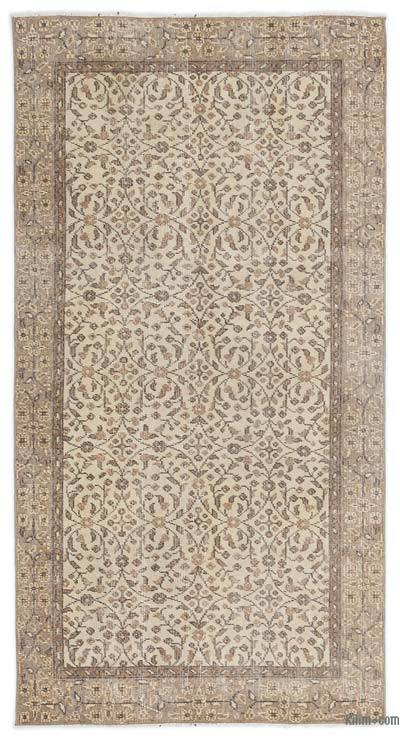 Beige Over-dyed Turkish Vintage Rug - 3'6'' x 6'11'' (42 in. x 83 in.)