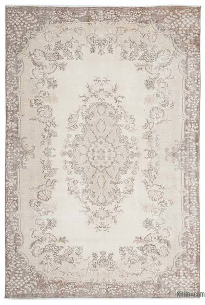 Beige Over-dyed Turkish Vintage Rug - 6'9'' x 10'2'' (81 in. x 122 in.)