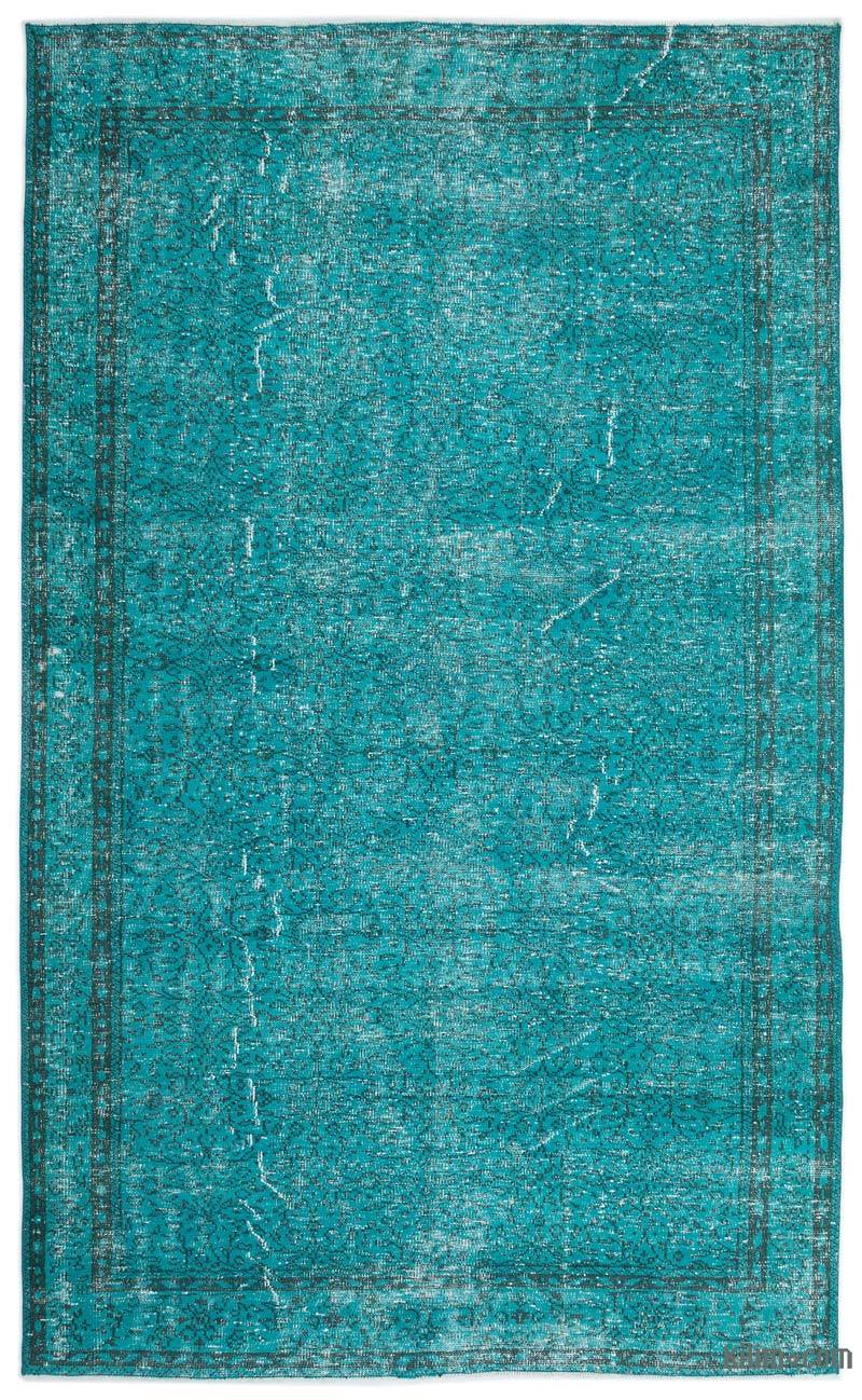K0019709 Turquoise Over Dyed Turkish Vintage Rug 6 6 Quot X