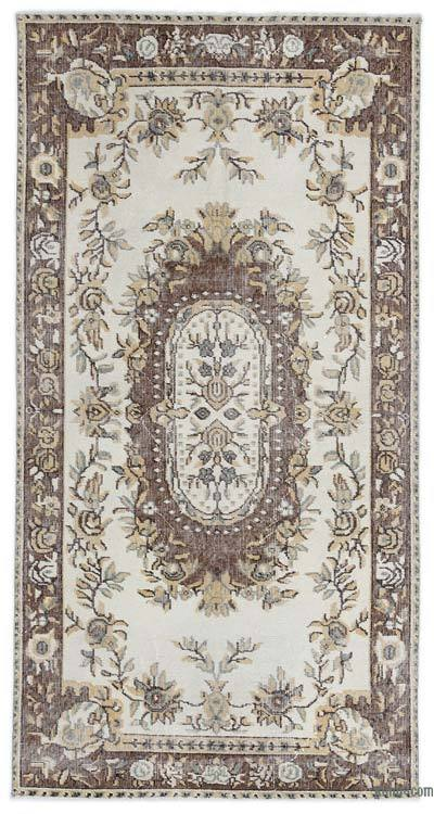 Beige, Brown Turkish Vintage Rug - 3'7'' x 6'9'' (43 in. x 81 in.)