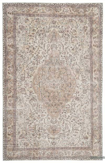 Beige Over-dyed Turkish Vintage Rug - 6'9'' x 10'6'' (81 in. x 126 in.)