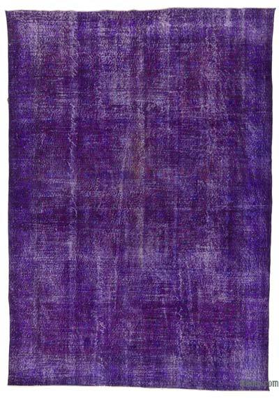 Purple Over-dyed Turkish Vintage Rug - 7'2'' x 10'2'' (86 in. x 122 in.)