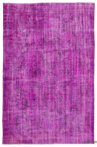 Fuchsia Over-dyed Turkish Vintage Rug - 6'2'' x 9'7'' (74 in. x 115 in.)