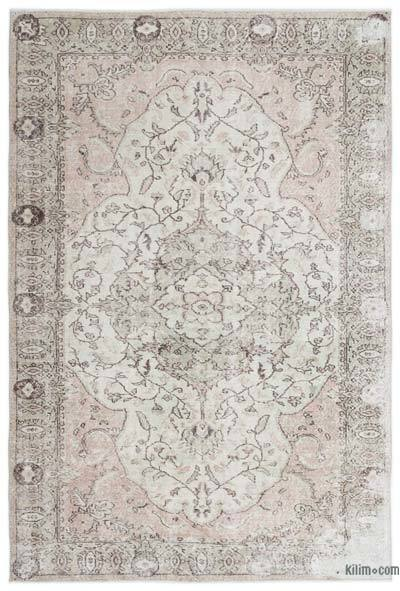 Beige Over-dyed Turkish Vintage Rug - 5'8'' x 8'5'' (68 in. x 101 in.)