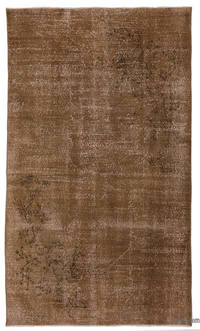 Brown Over-dyed Turkish Vintage Rug - 4'9'' x 8'4'' (57 in. x 100 in.)