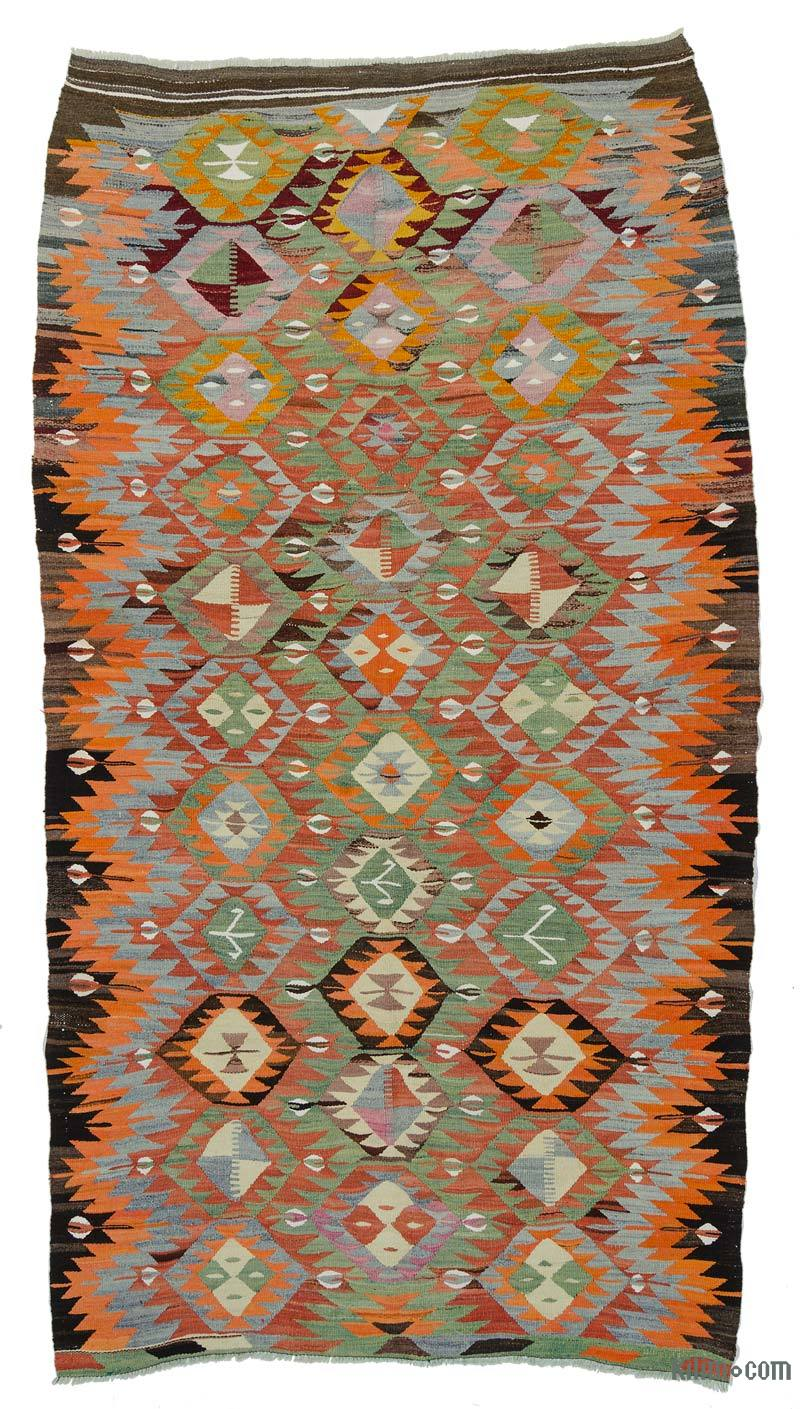 K0020016 Orange Green Vintage Afyon Kilim Rug 5 3 X 9
