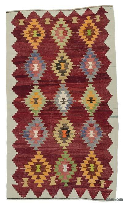 Red Vintage Cal Kilim Rug - 5' x 8'10'' (60 in. x 106 in.)