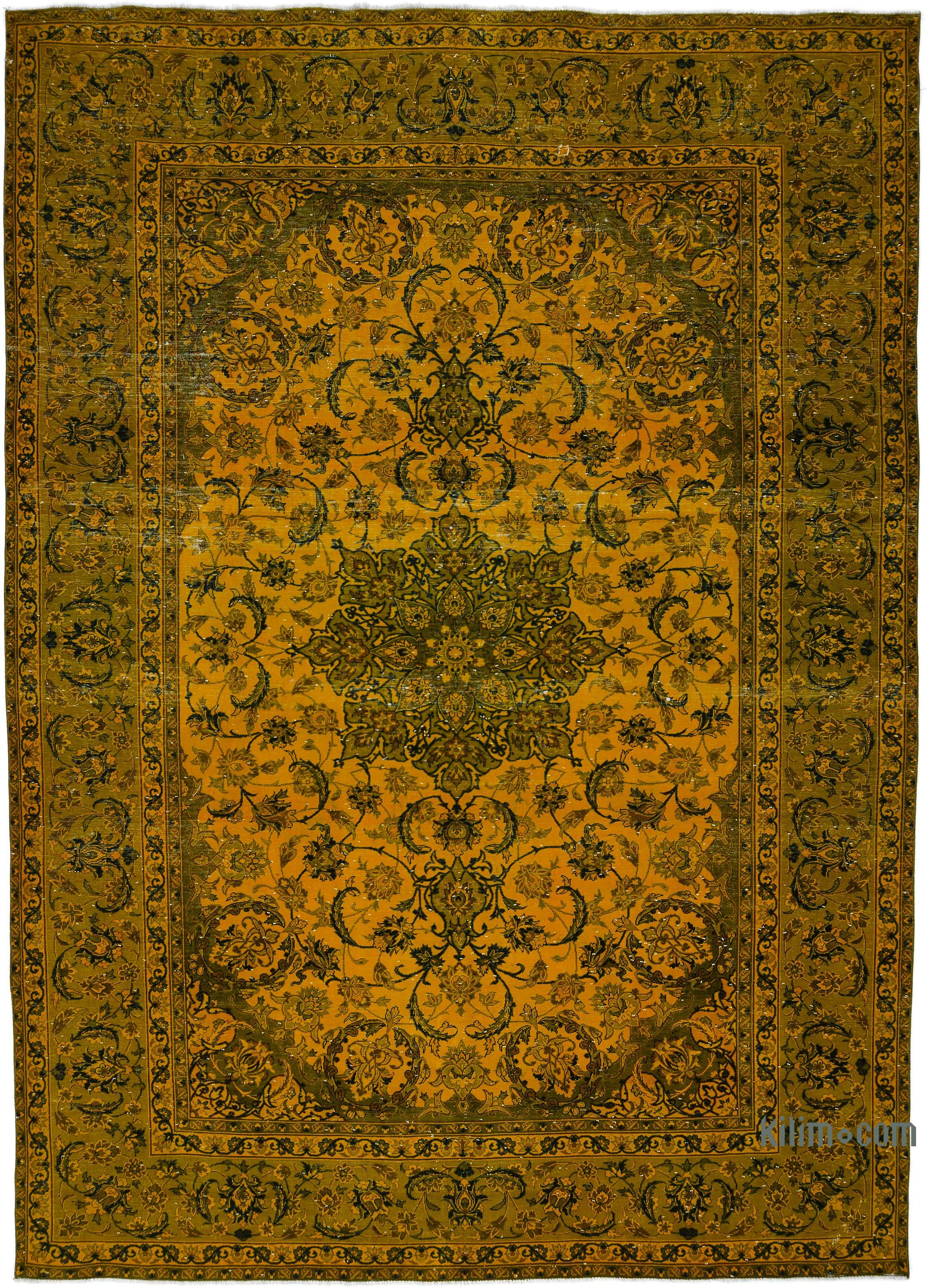 Yellow Over Dyed Vintage Hand Knotted Oriental Rug 9 7