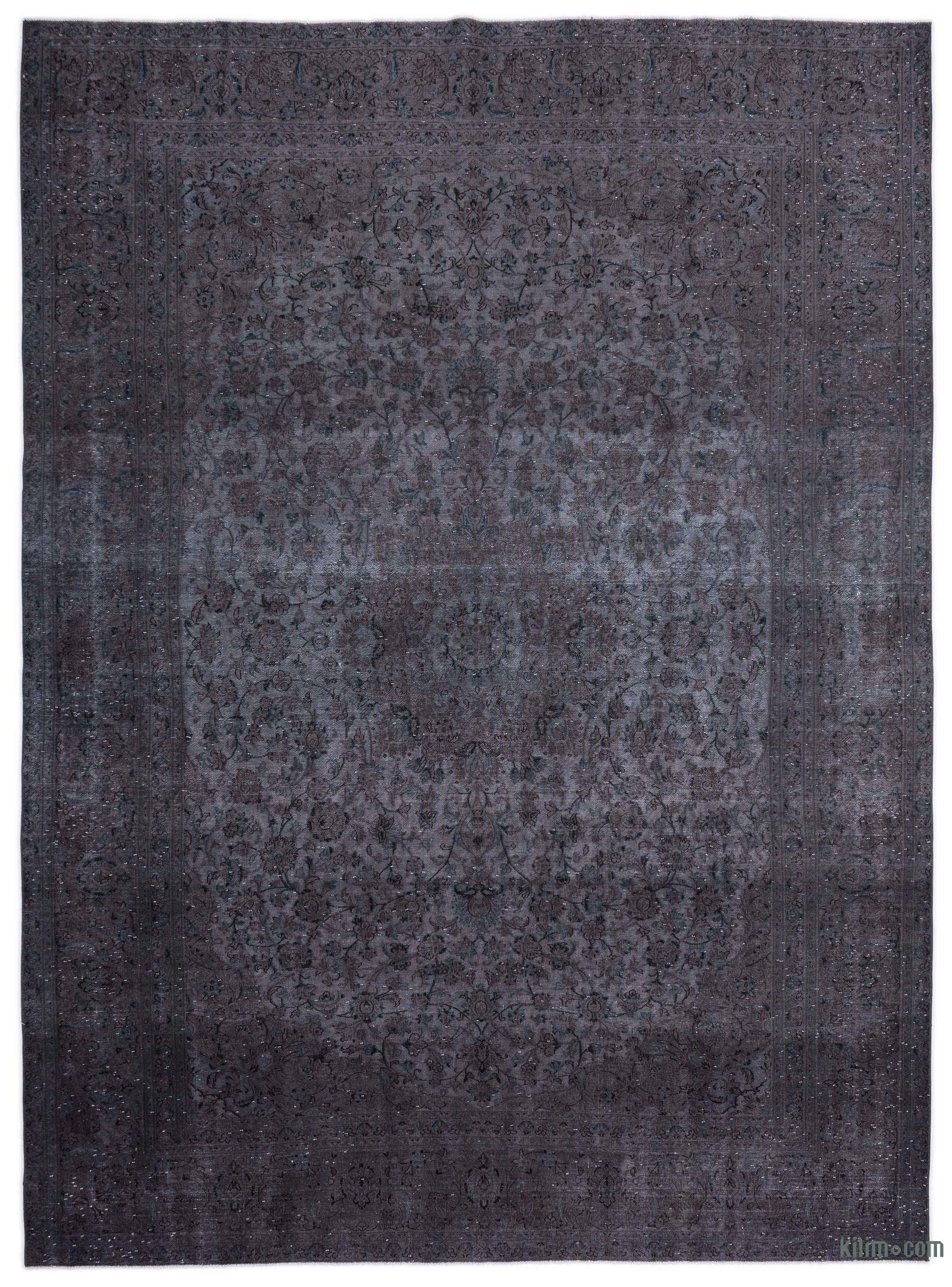 Grey Over Dyed Vintage Hand Knotted Oriental Rug 9 6 X 12 9 114 In X 153 In