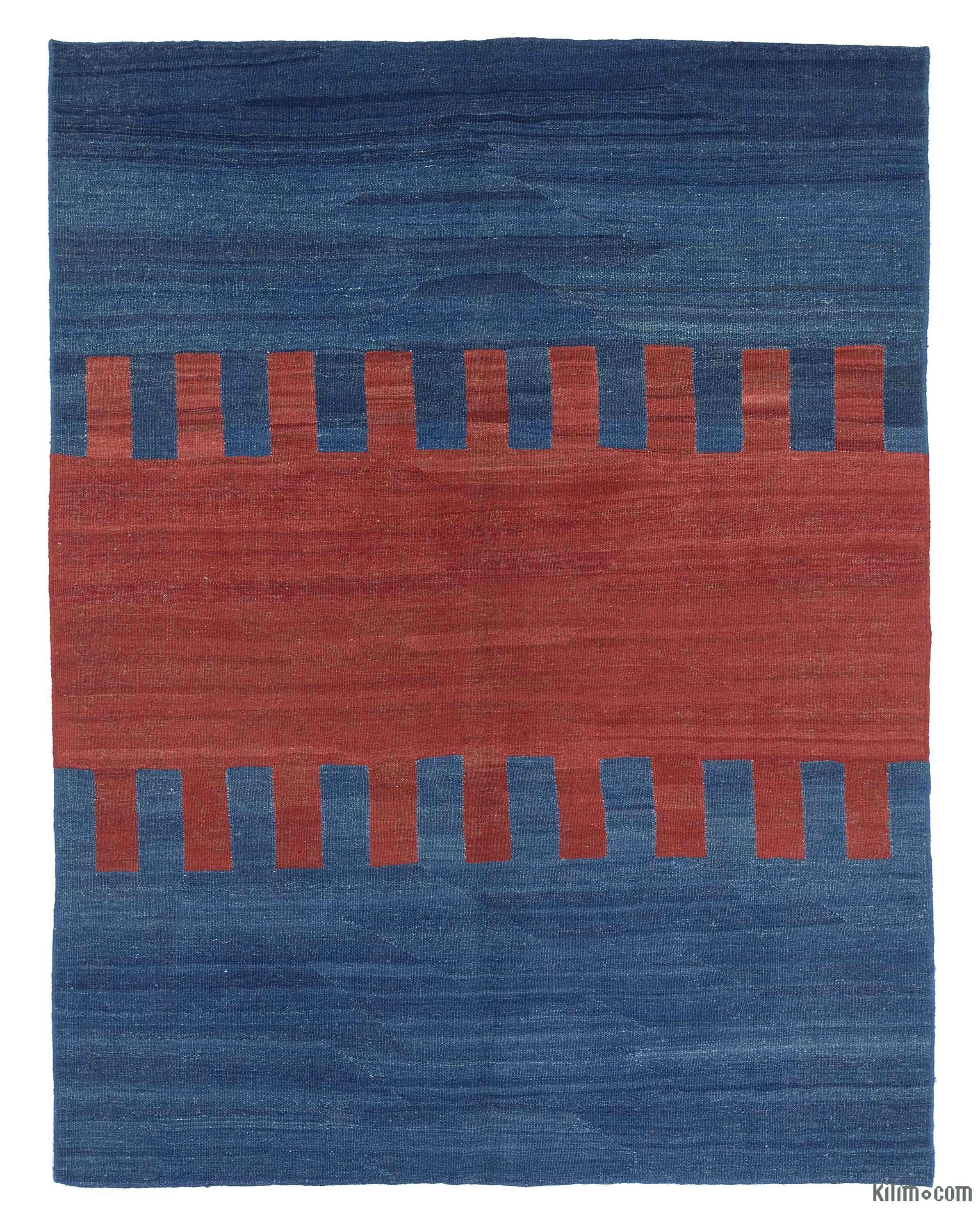 K0020173 Blue Red New Persian Kilim Rug