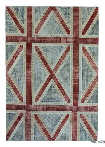"Over-dyed Turkish Patchwork Rug - 8'5"" x 12'2"" (101 in. x 146 in.)"