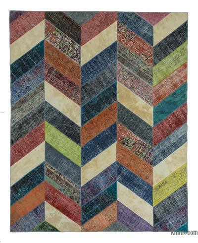 Over-dyed Turkish Patchwork Rug - 8'1'' x 10'1'' (97 in. x 121 in.)