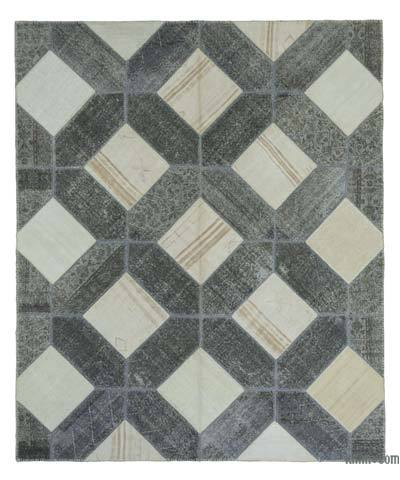 Grey, Beige Over-dyed Turkish Patchwork Rug - 8'3'' x 9'11'' (99 in. x 119 in.)