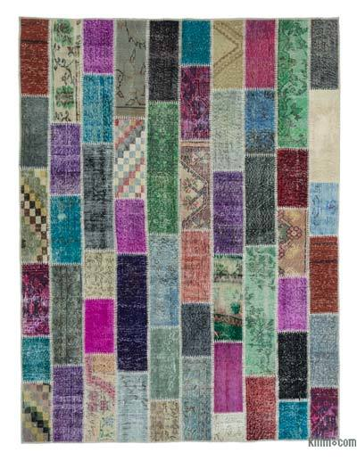 Over-dyed Turkish Patchwork Rug - 6'2'' x 8'1'' (74 in. x 97 in.)