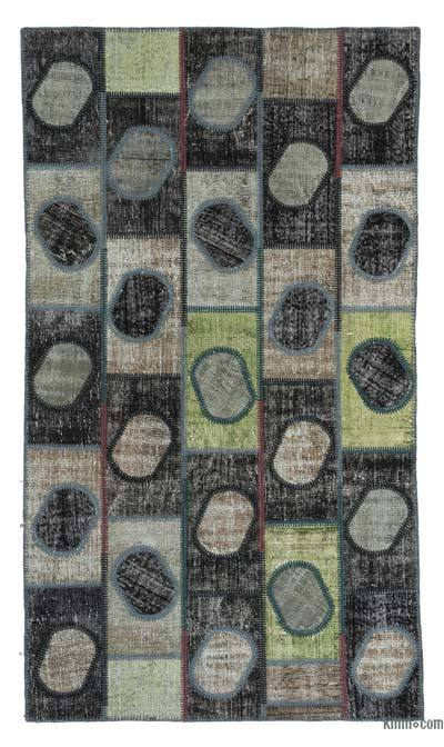 "Over-dyed Turkish Patchwork Rug - 4'8"" x 8'1"" (56 in. x 97 in.)"