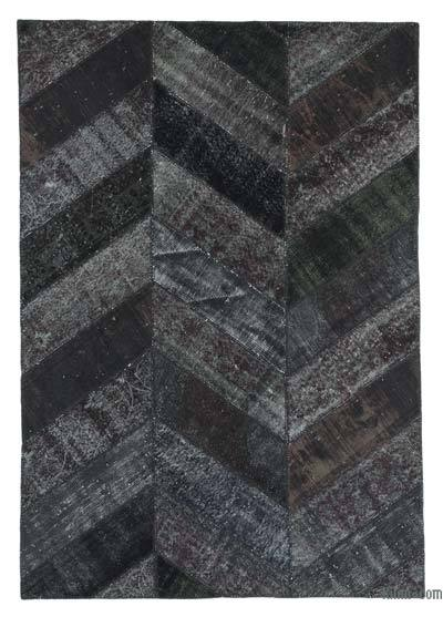 "Over-dyed Turkish Patchwork Rug - 5'6"" x 7'11"" (66 in. x 95 in.)"